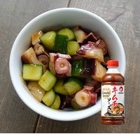 octopus and cucumber seasoned with kimchi
